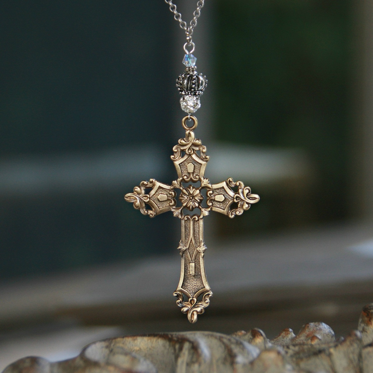IS-740  Large Cross and Crown Necklace