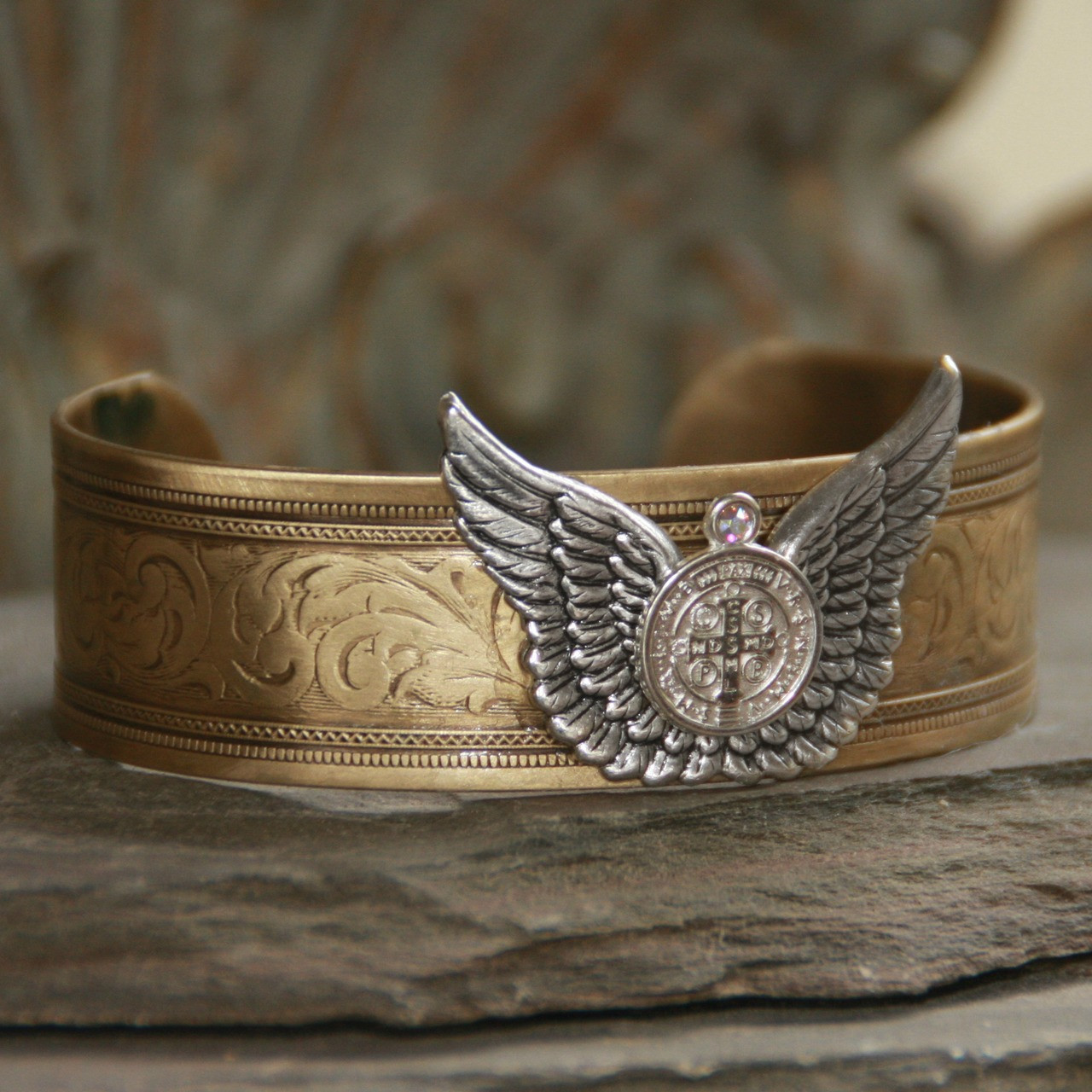 ART-161  Wings and St. Benedict Cuff Bracelet