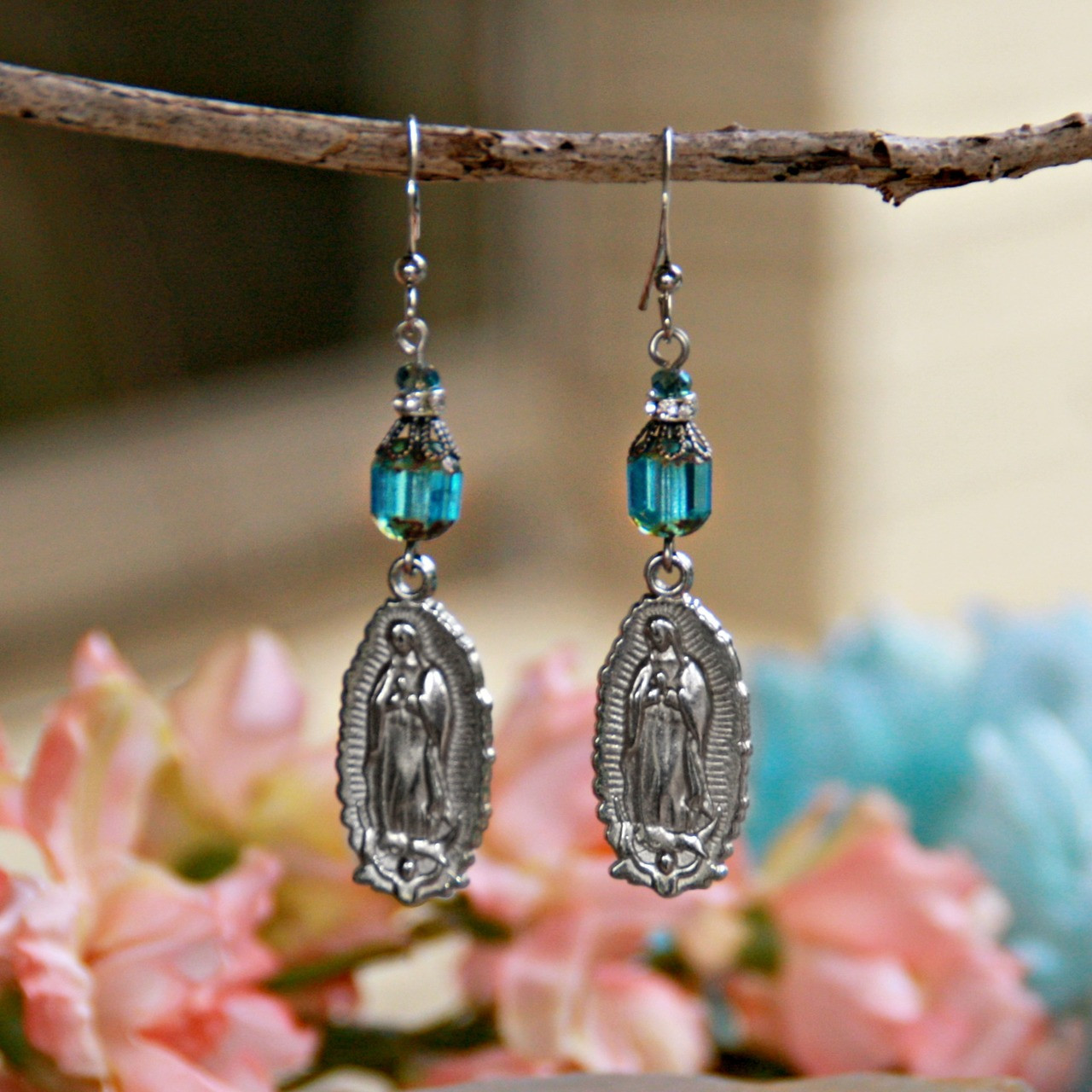 IN-97  Lady of Guadalupe Earrings Teal Crystal Earrings