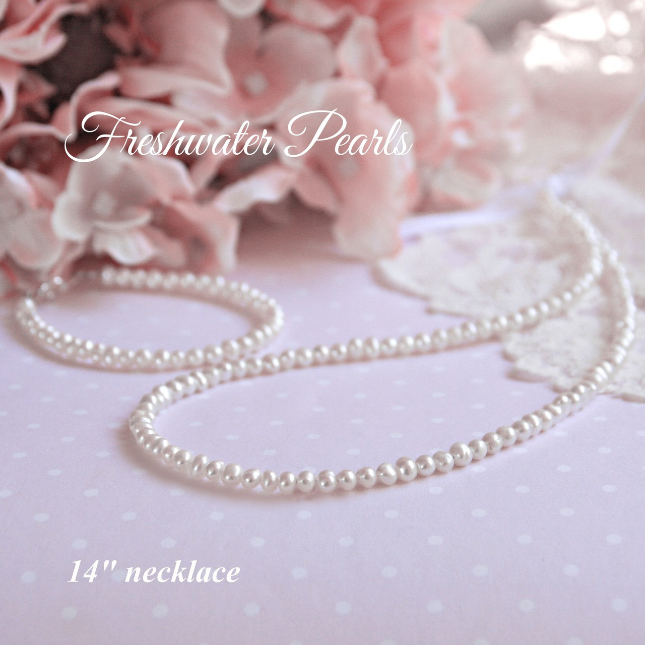 """STG-125  14"""" Freshwater Pearls Necklace"""