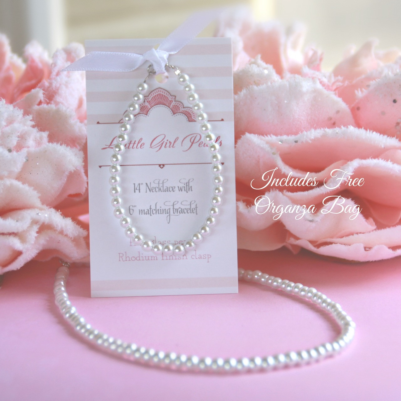 """CJ-463  Little Girl Pearls Set with Organza Bag, Always a #1 Seller! 6"""" bracelet and 14"""" Necklace"""