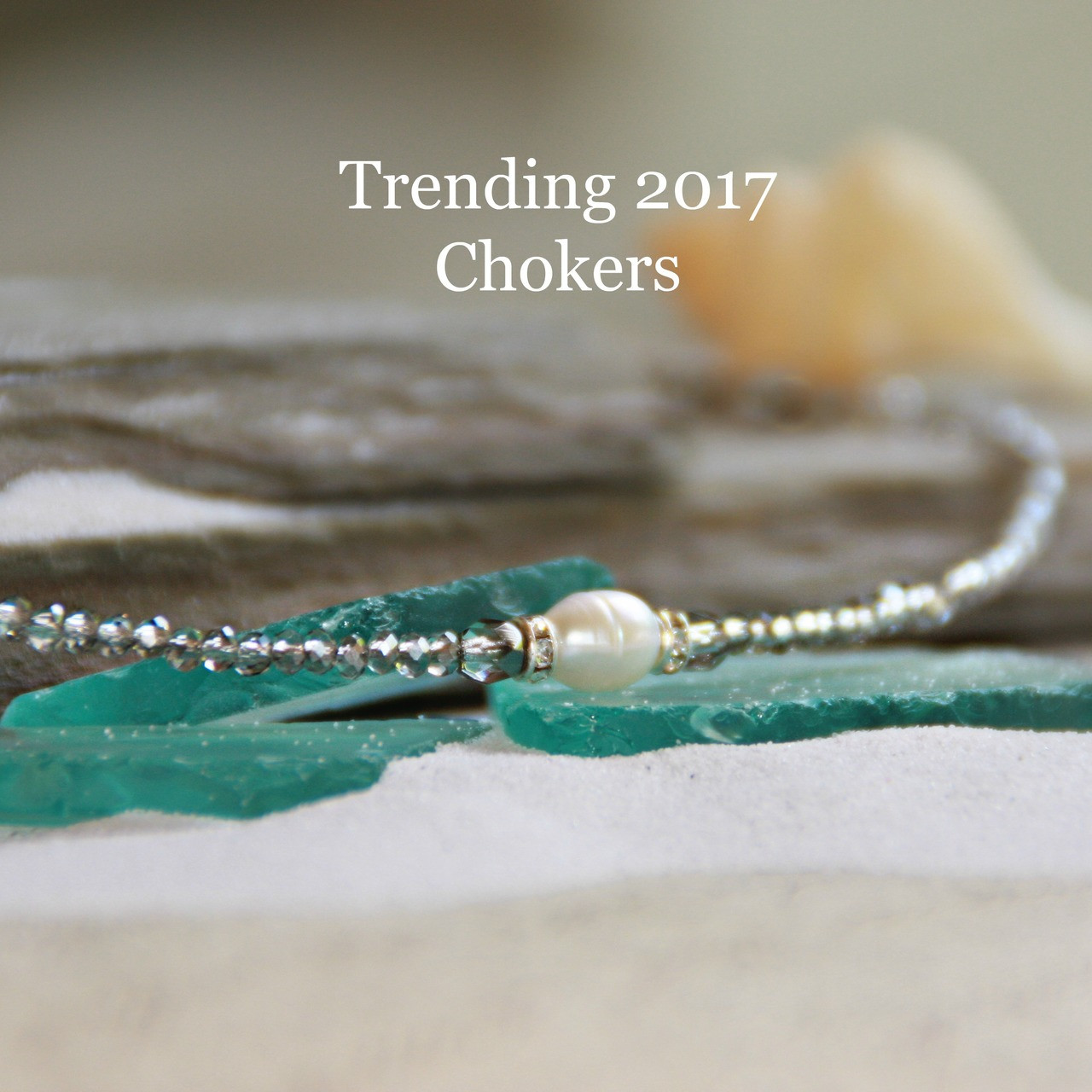 CH-26  Single Freshwater Pearl Choker with Platinum crystals