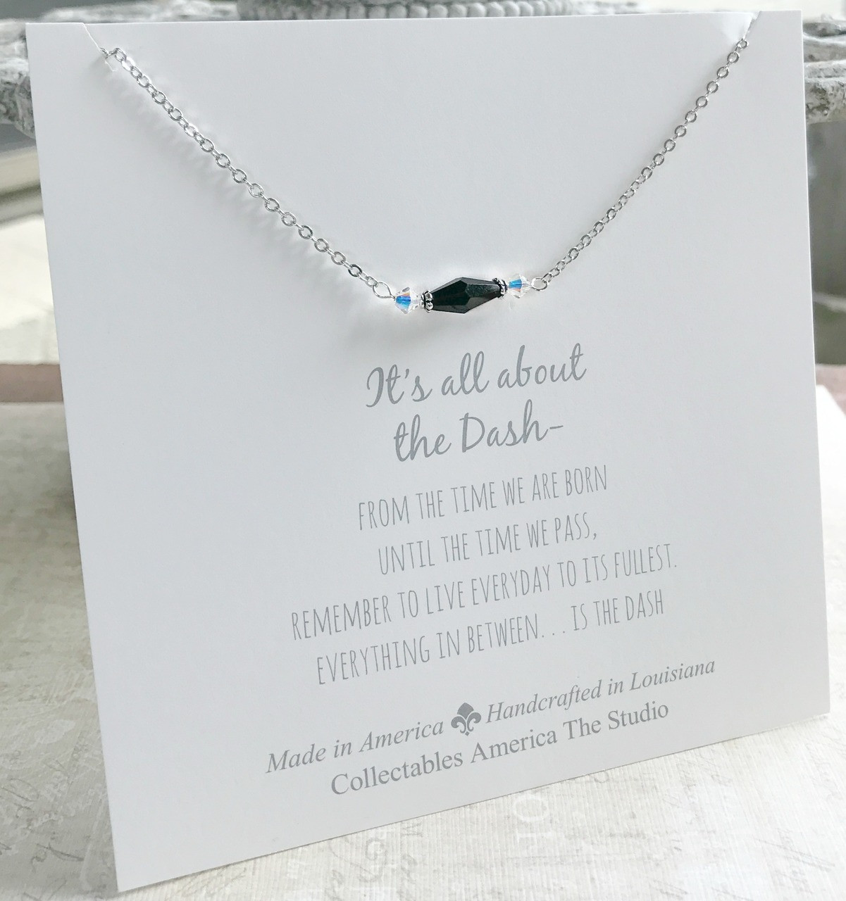 DA-4  Swarovski and Black Faceted Crystal All about the Dash Necklace