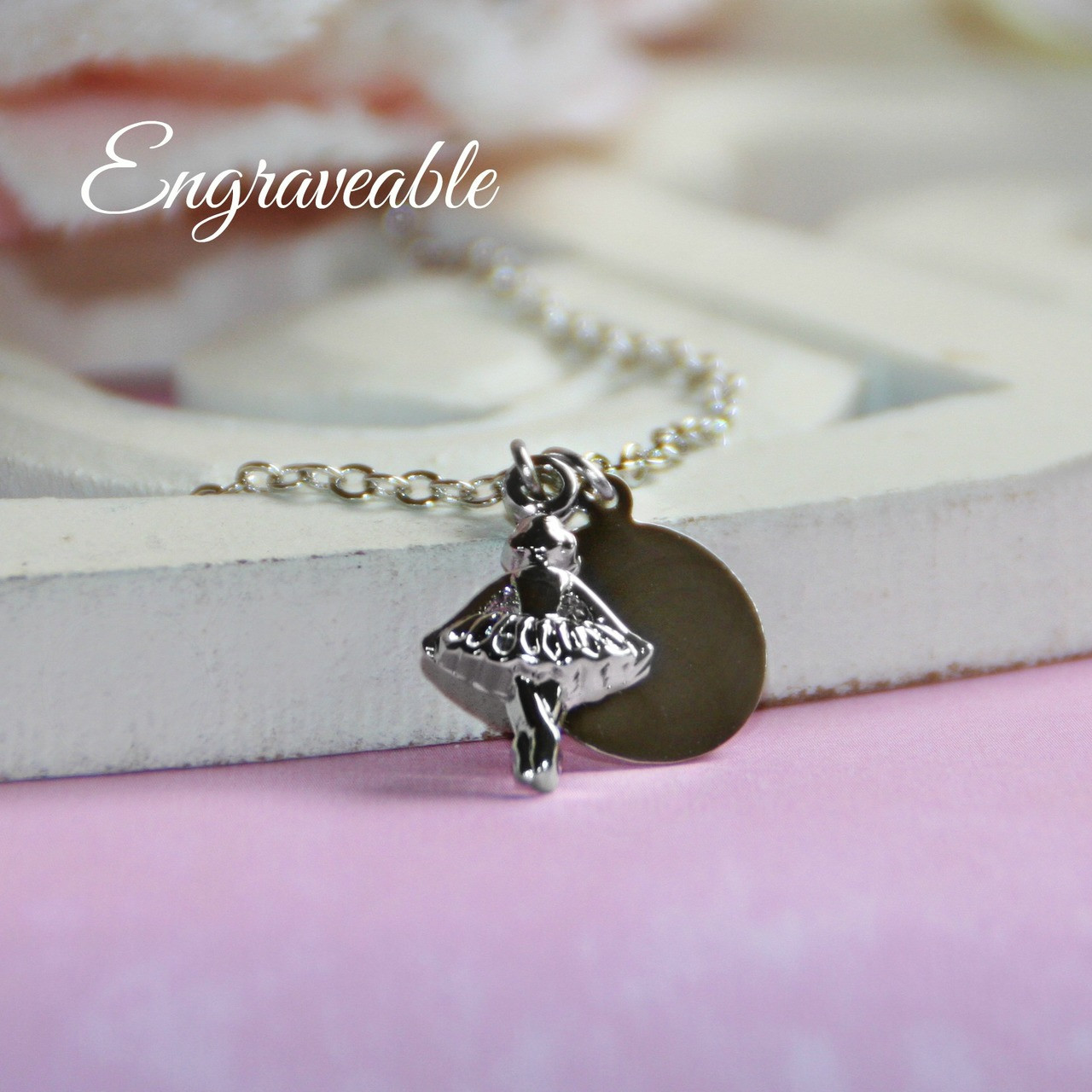 EG-4  Engraveable Stainless Disk with Ballerina Necklace