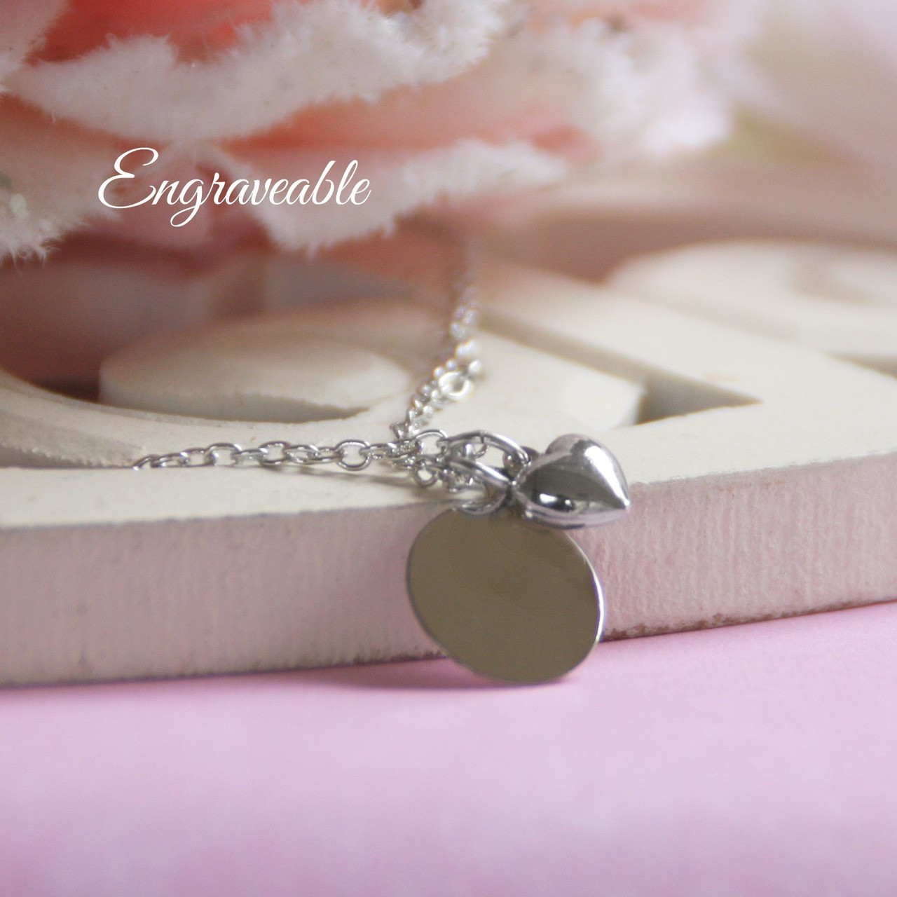 EG-8  Engraveable Stainless Puffed Heart Necklace