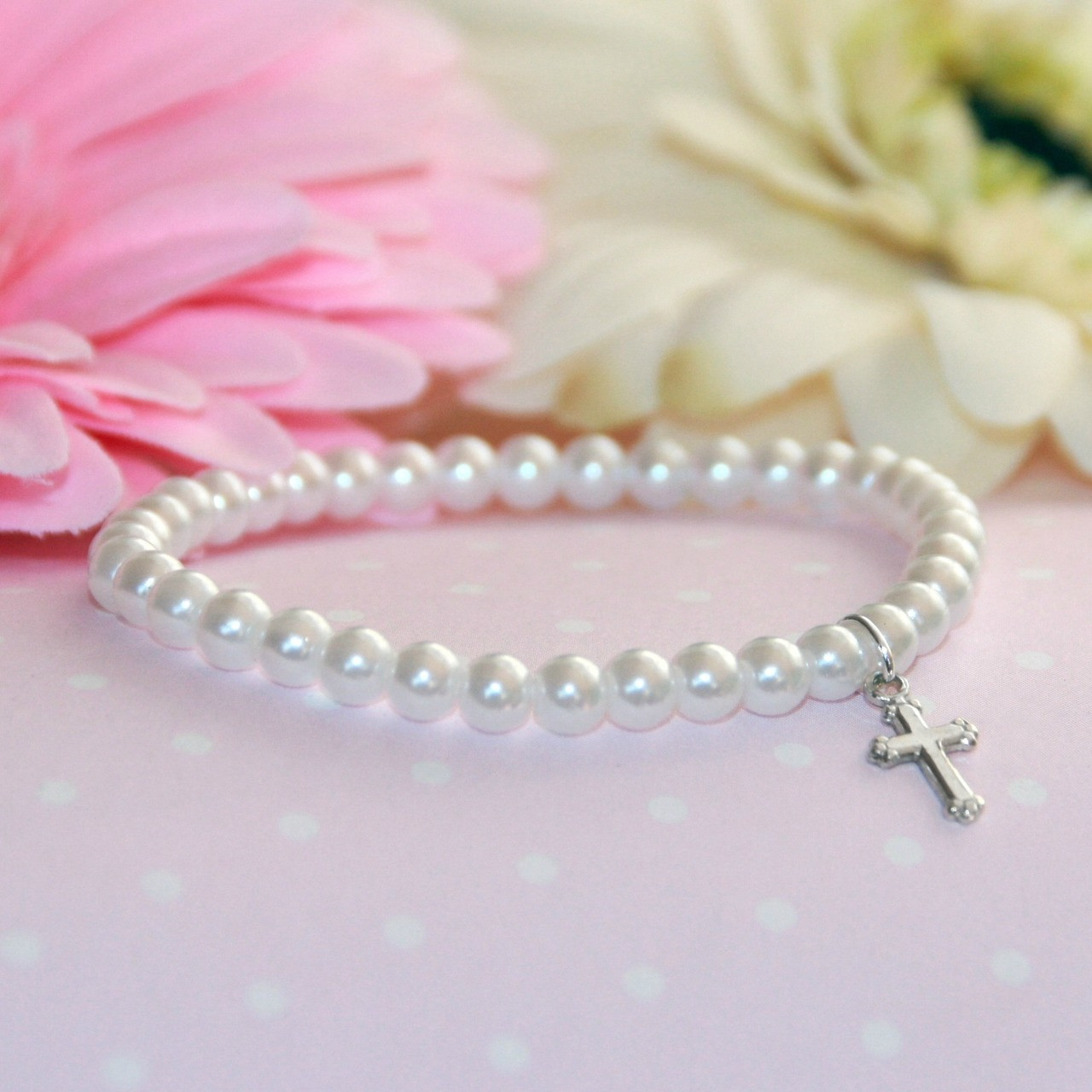 "CJ-5015  Stretchy 5"" Top Selling Glass Pearl Bracelet with Sterling Silver Cross"