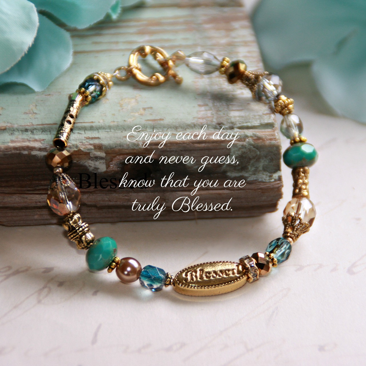 IN-388  Blessed Bracelet with lots of Great colors and Crystals
