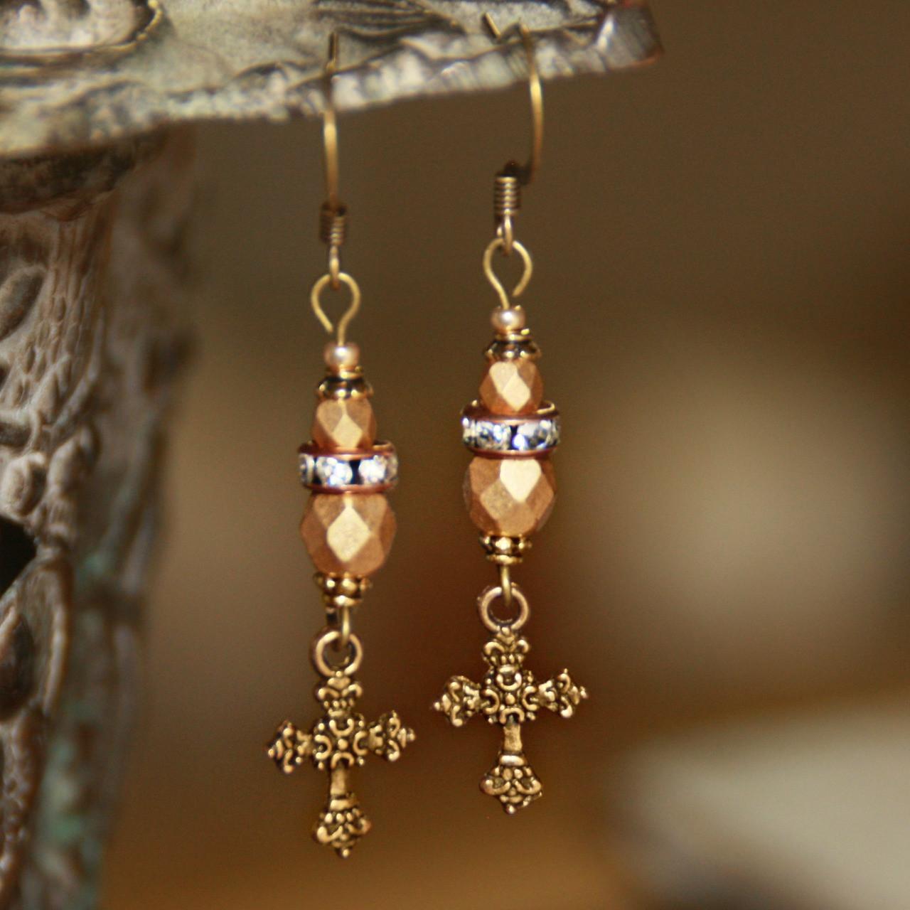 IN-78  Vintage Gold Cross Earrings