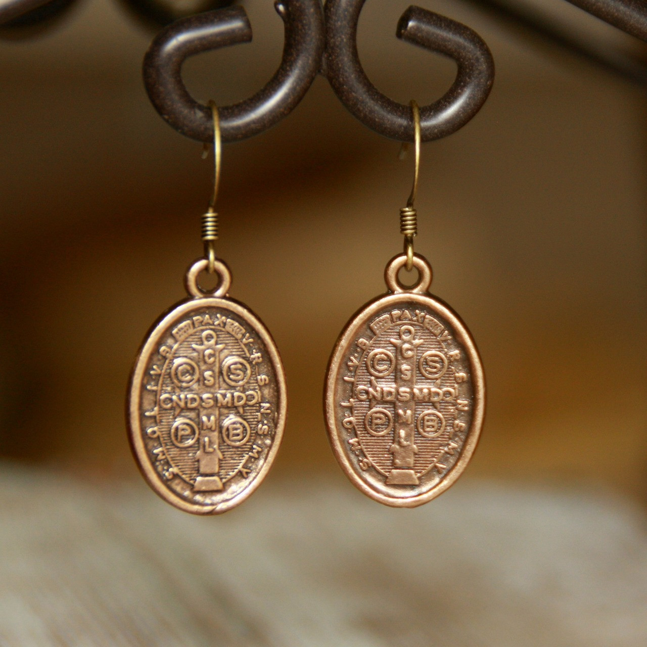 IN-84P  Vintage Gold Style Classic St. Benedict Earrings