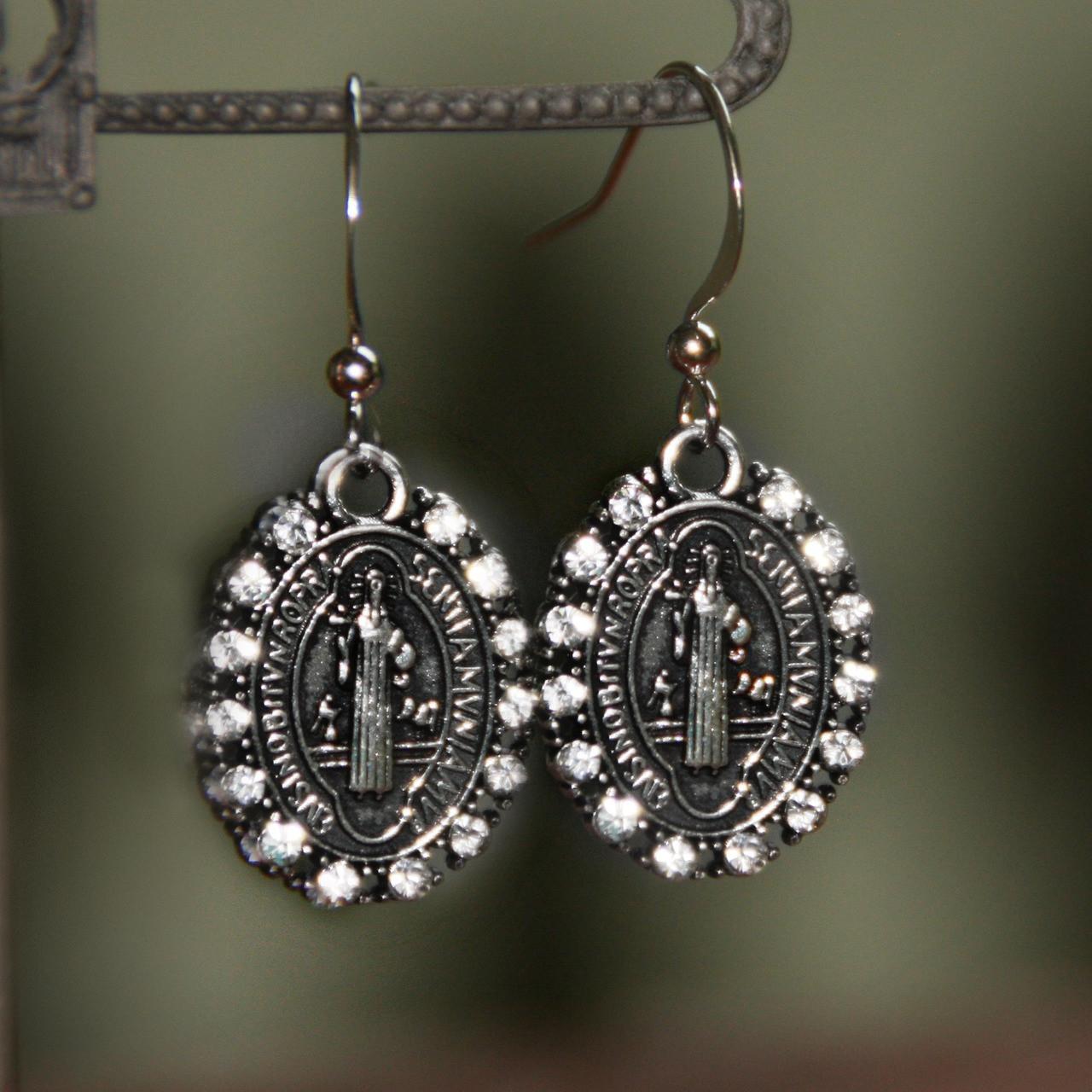 IN-80  St. Benedict Crystal Swarovski Earrings