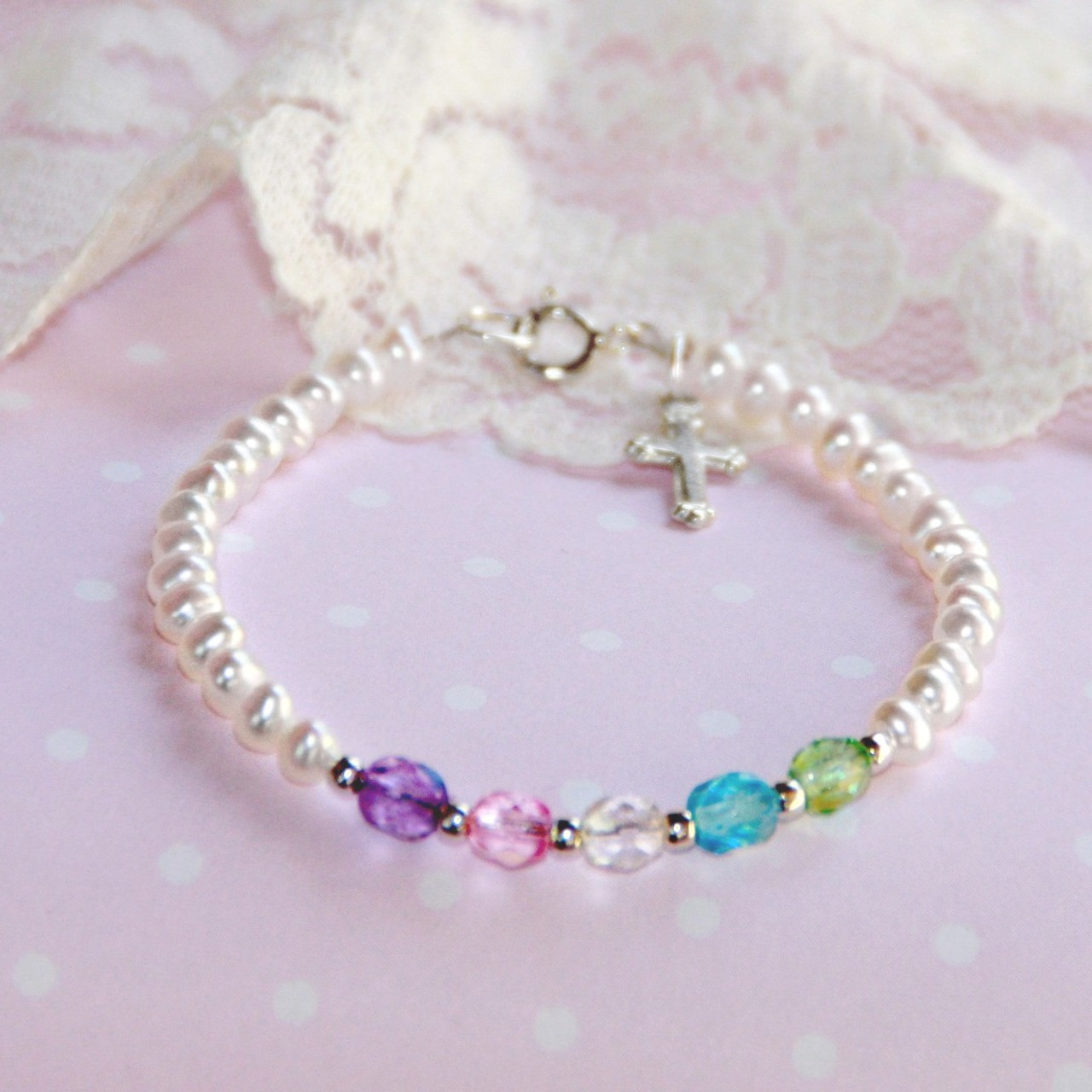 "STG-164  Freshwater Pearls Multi Crystal Top Selling 5"" Bracelet with Sterling Silver Cross"