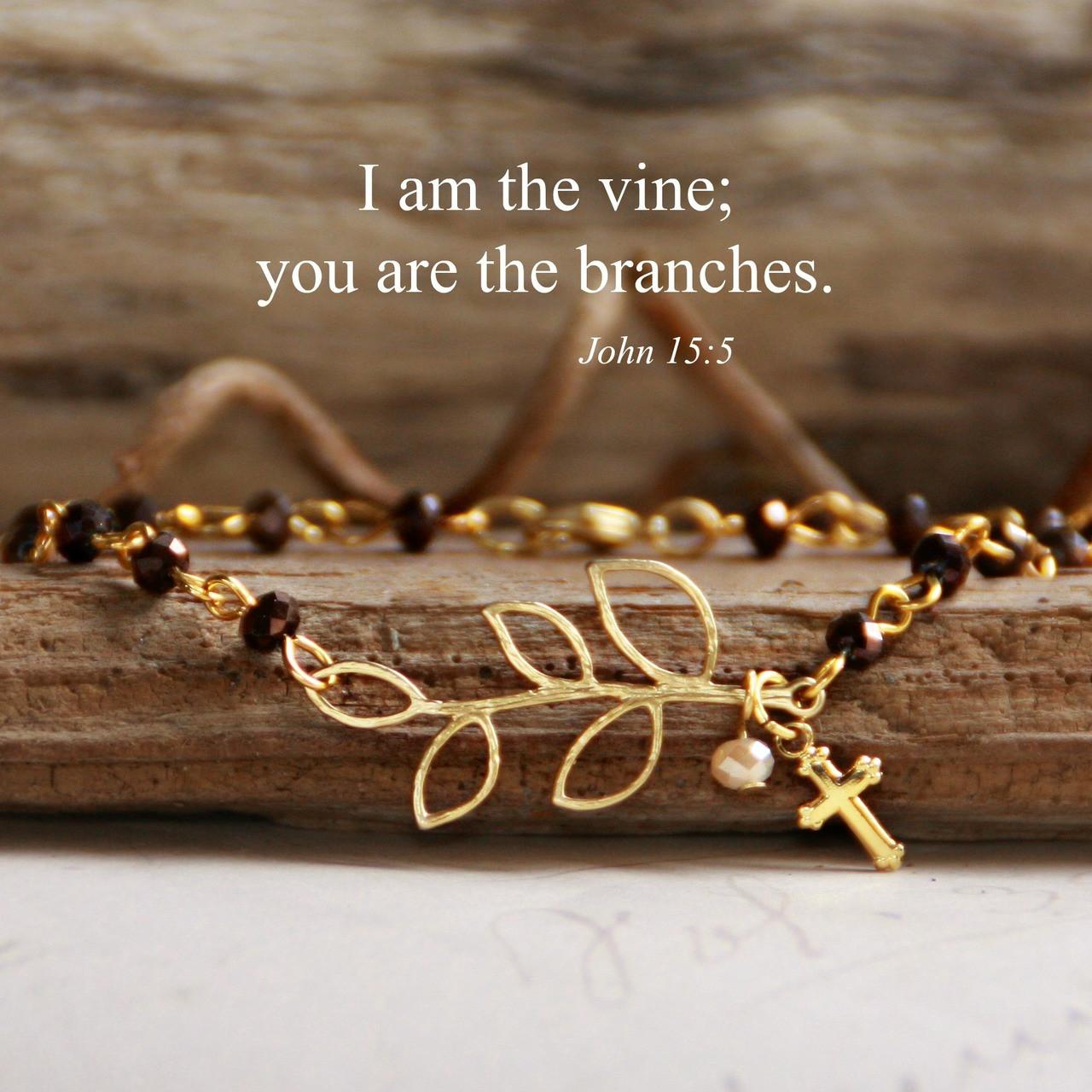 IN-151  I am the vine gold finish beaded bracelet