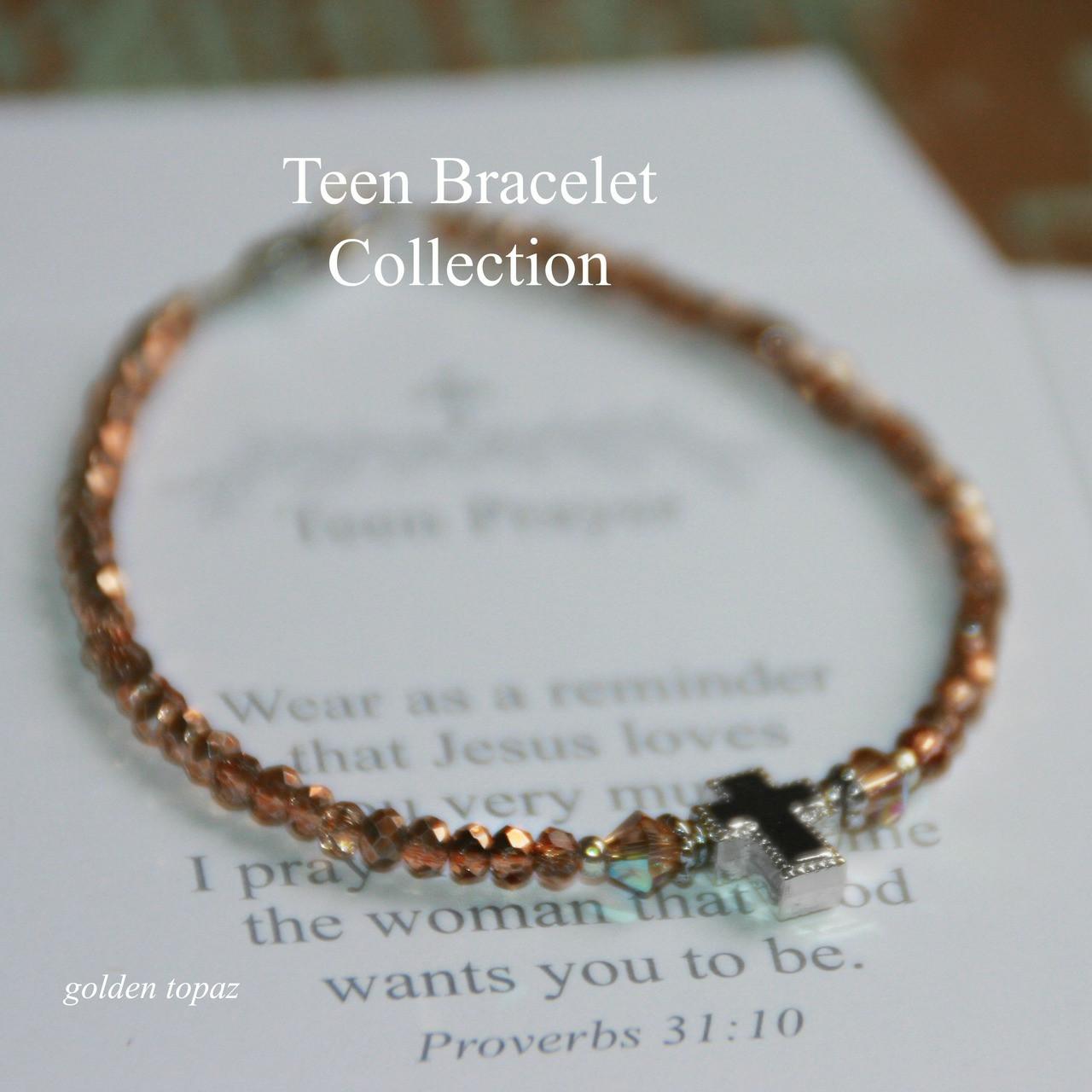 TN-1  Teen Prayer Bracelet-Rose Topaz