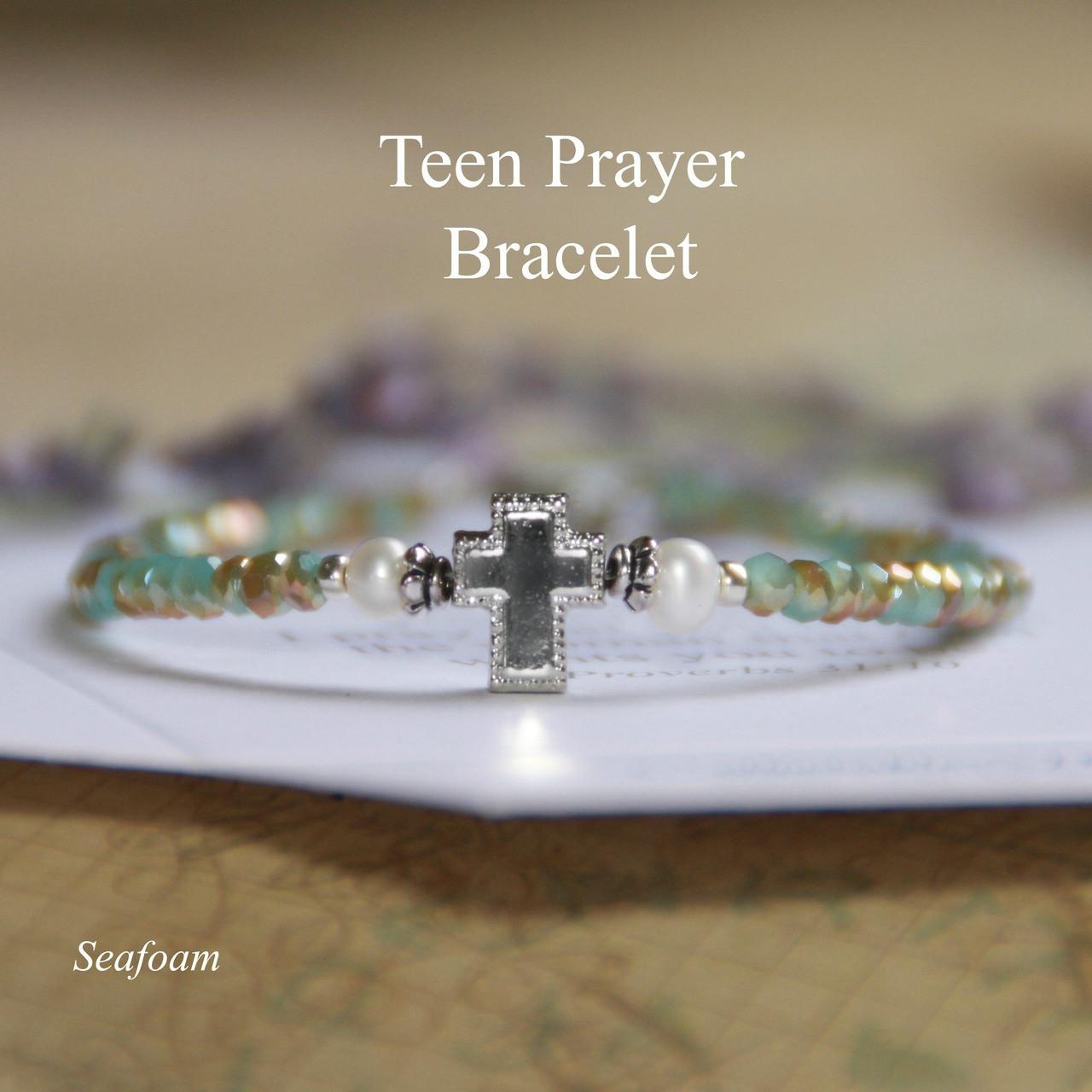 TN-4  Teen Prayer Bracelet-Seafoam (see additional colors)