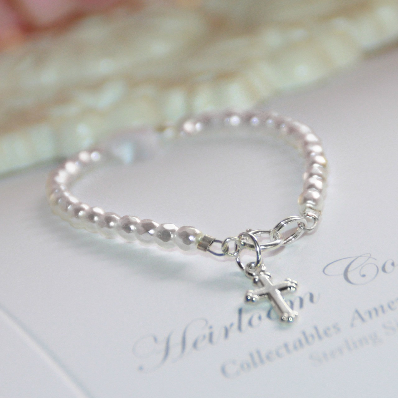"""STG-75CR Sterling Silver Cross and Faceted white Glass Pearls Oh so Precious 5"""" Infant Bracelet"""