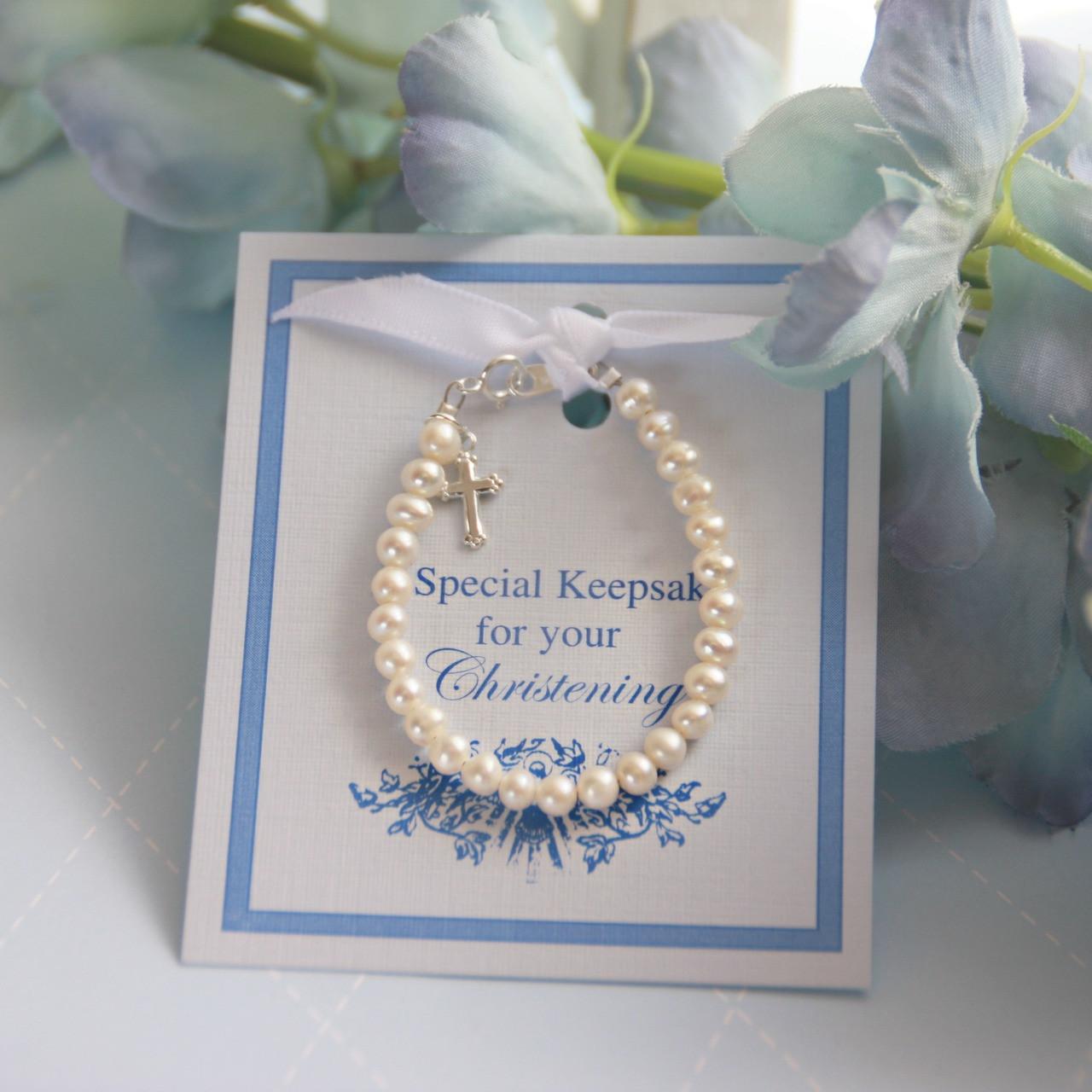 "STG-89  Freshwater Pearls and Sterling Silver 5"" Christening Bracelet"