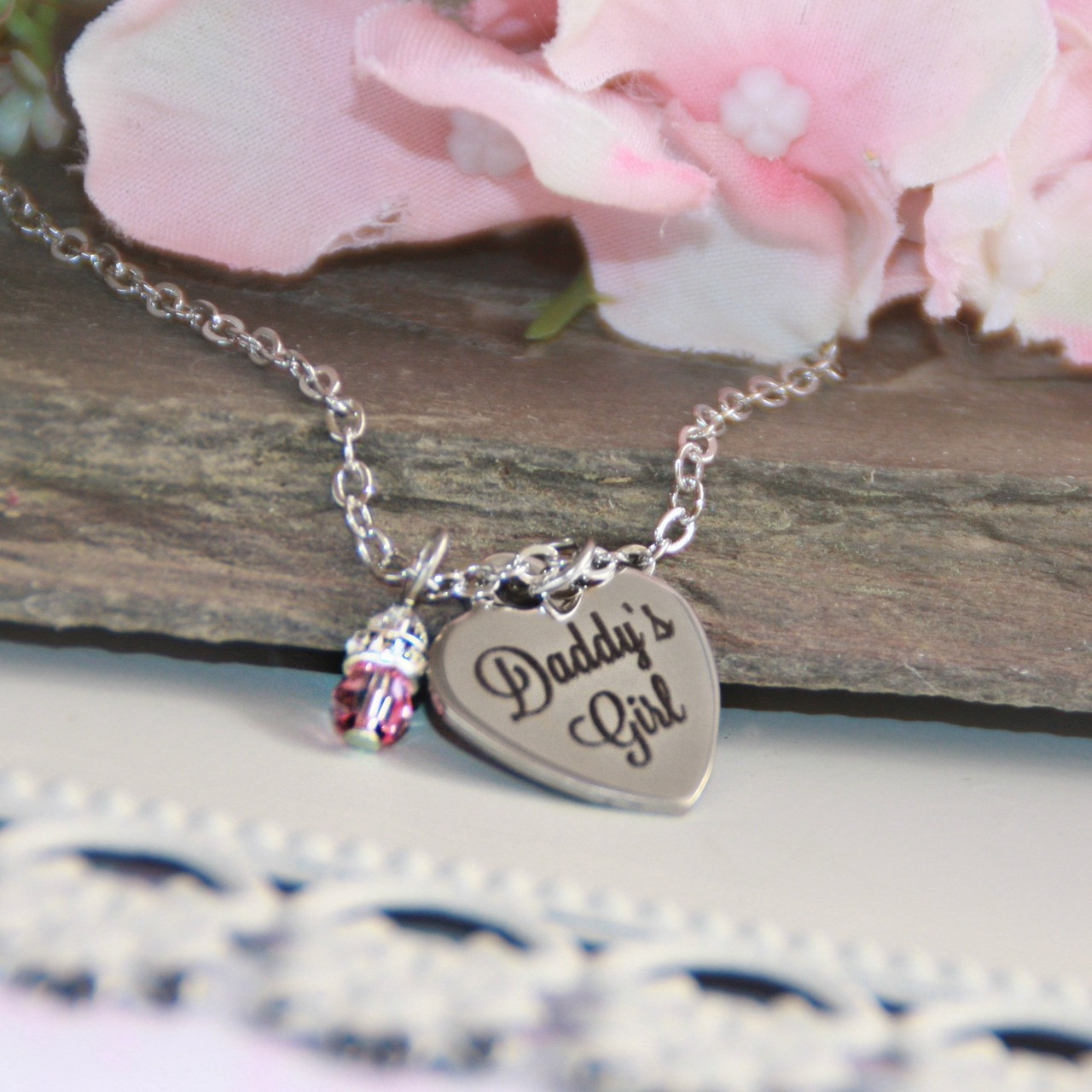 CJ-554  Daddy's Girl Stainless Steel Heart Necklace and can be Engraved on backside too!