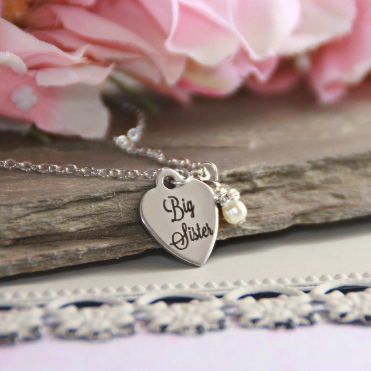CJ-558  Big Sister Stainless Steel Heart Necklace and can be Engraved on backside too!