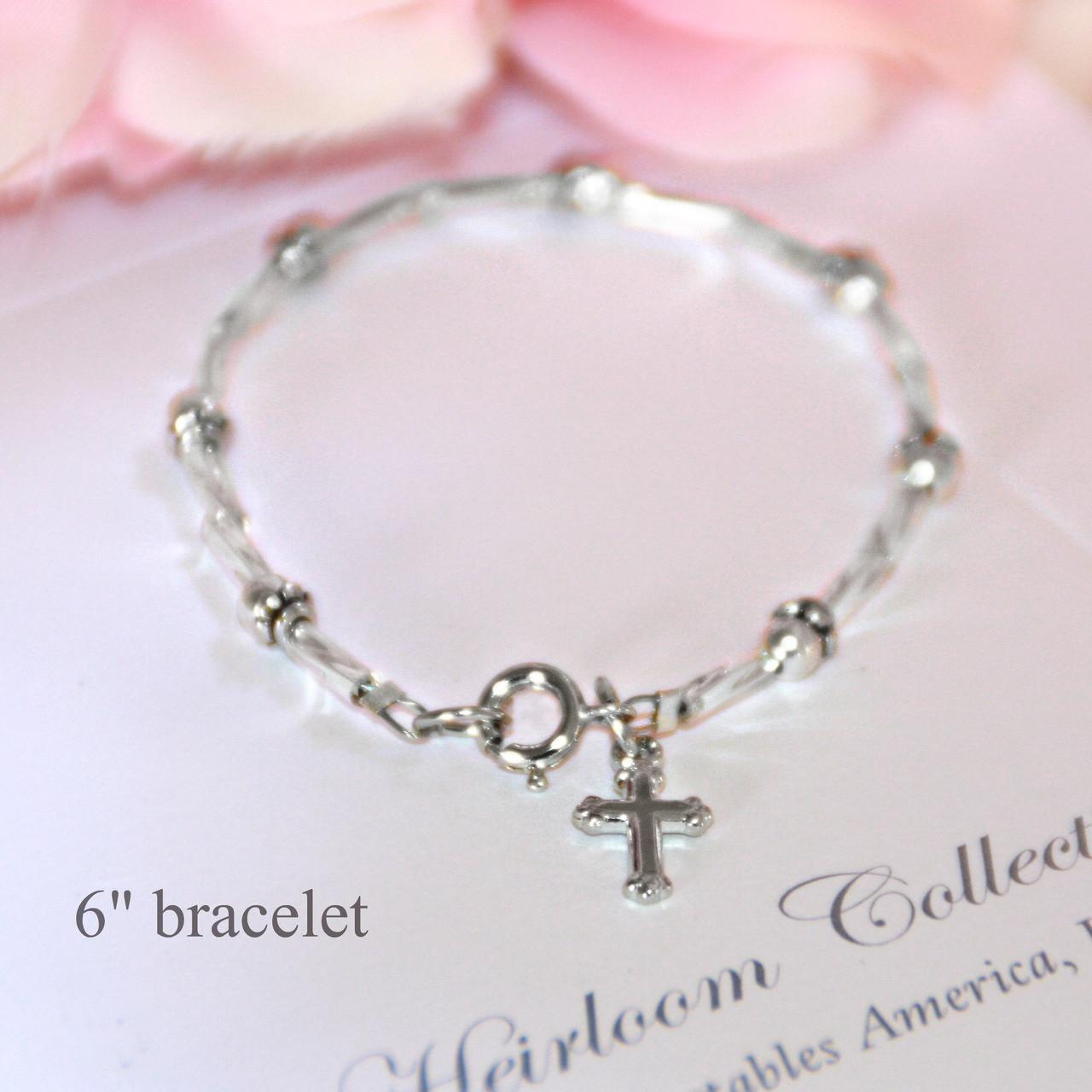 """CJ-151-6  Silver Glass Beads Classic Bracelet with Cross 5"""""""