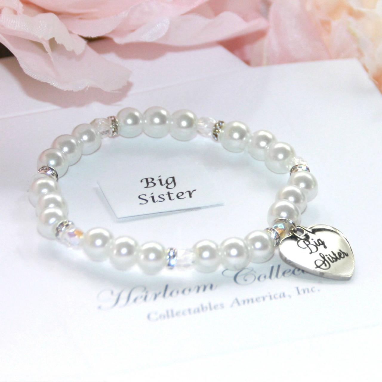 "CJ-163  Big Sister Chunky Glass Pearl Bracelet 5"""