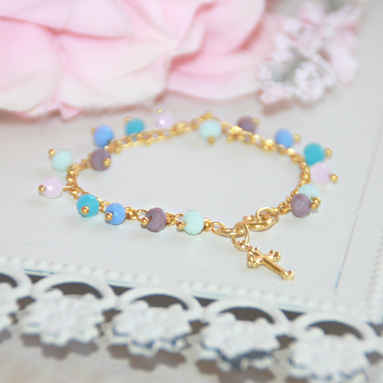 "CJ-415  Oh so dainty and sweet beaded drop 5"" bracelet with Cross"