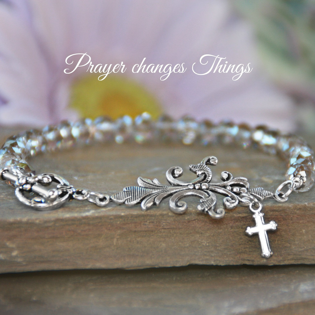 IN-214  Platinum Crystals Classic Prayer changes Things Bracelet with Vintage focal point