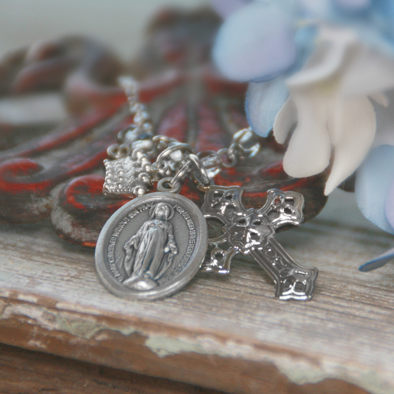 IN-583 Mary Charm Necklace with Filagree Cross and Crown