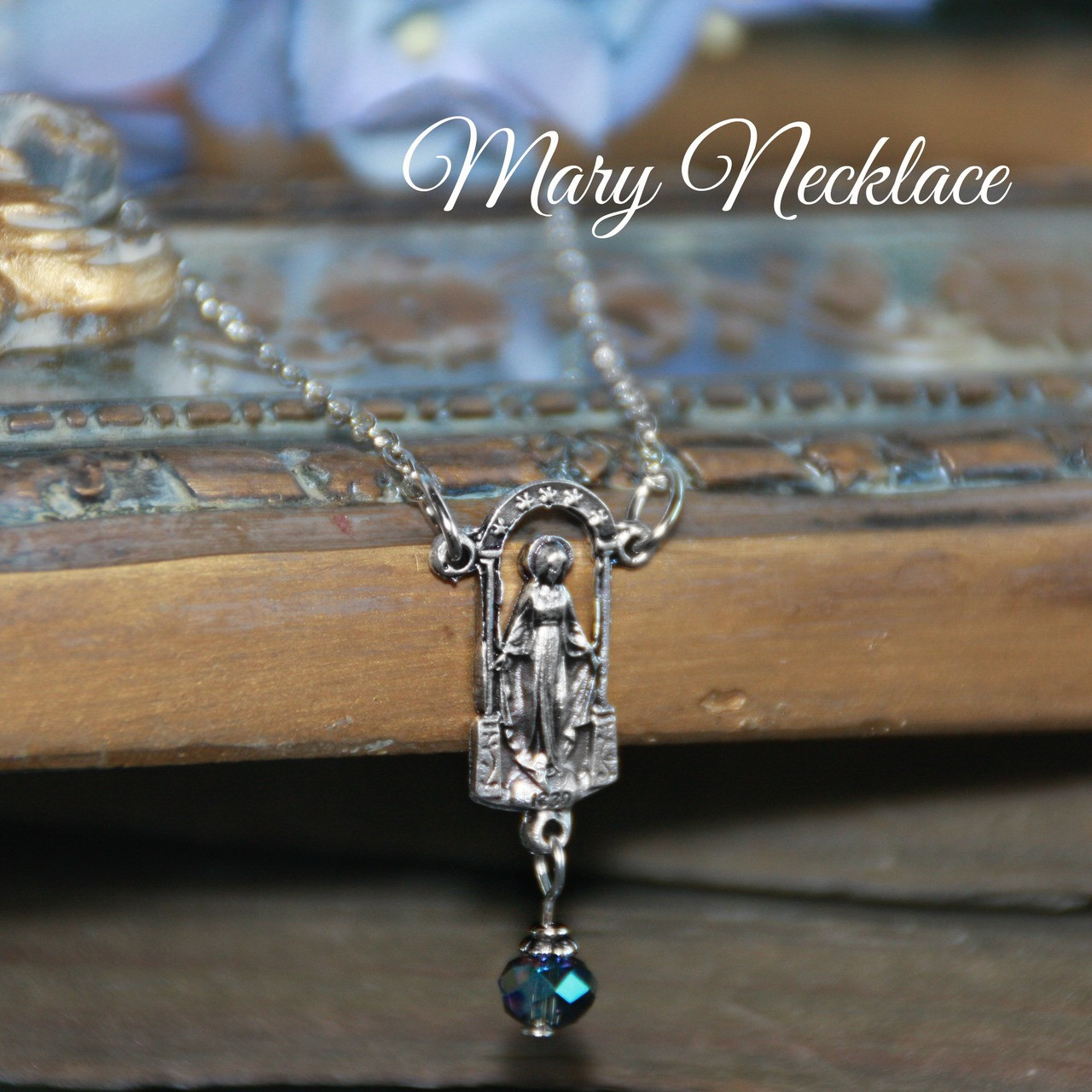 IN-582  Mary Medal drop stlye Necklace with Crystal drop