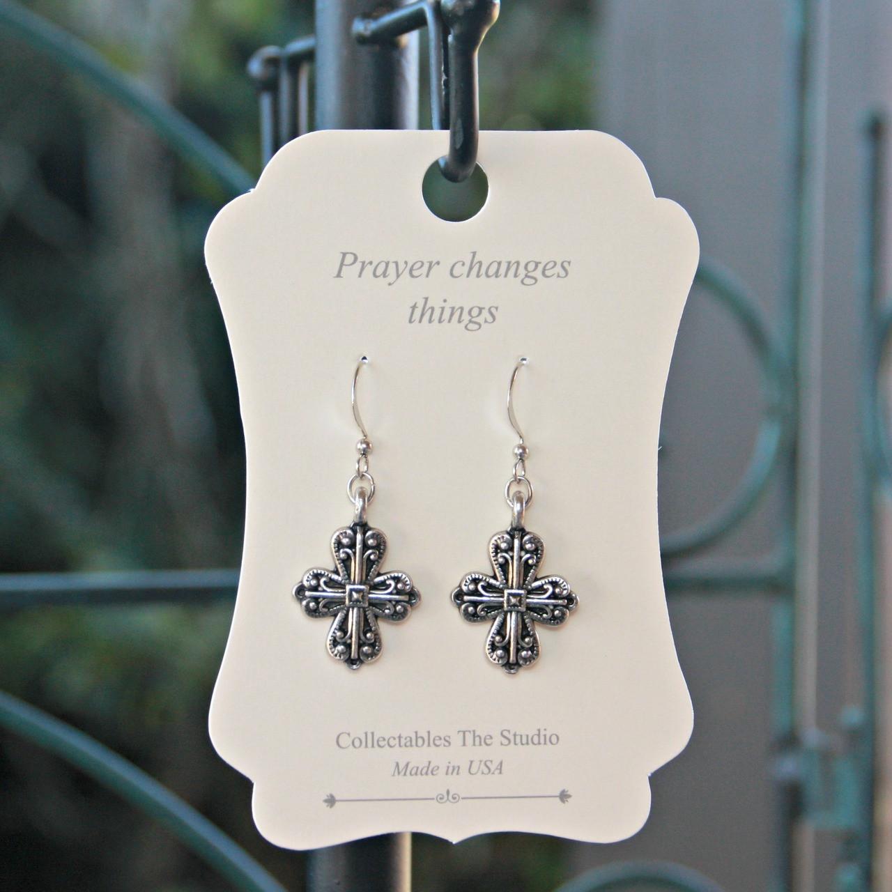 FER-400 Prayer changes Things Cross Filagree Earrings