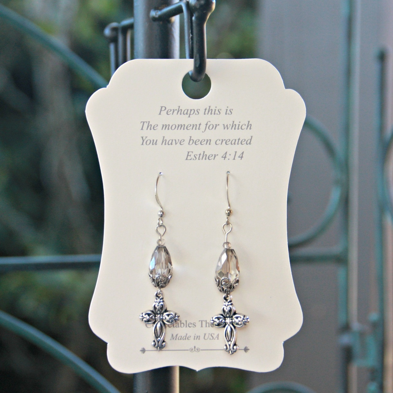 FER-413  Crystals and Cross Earrings Perhaps this is the Moment