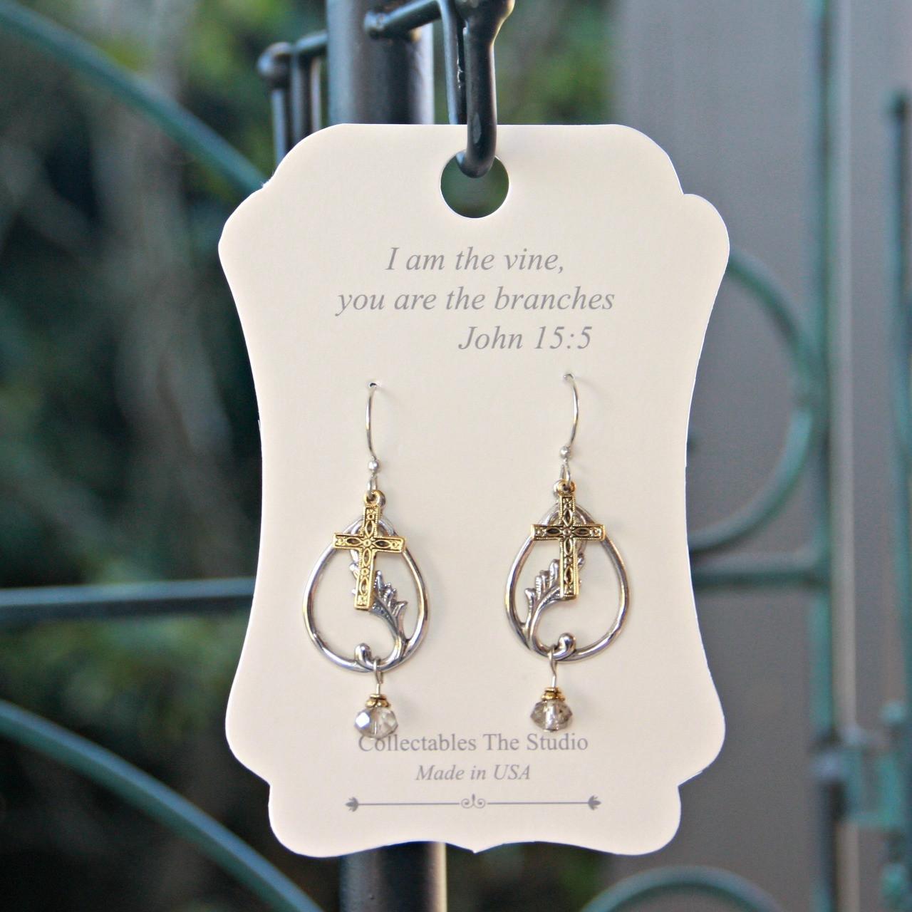 FER-412  I am the Vine Message Earrings