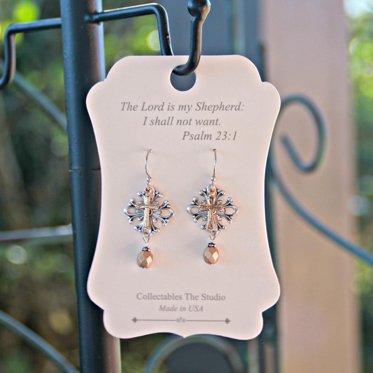 FER-401  The Lord is my Shepherd Message Earrings