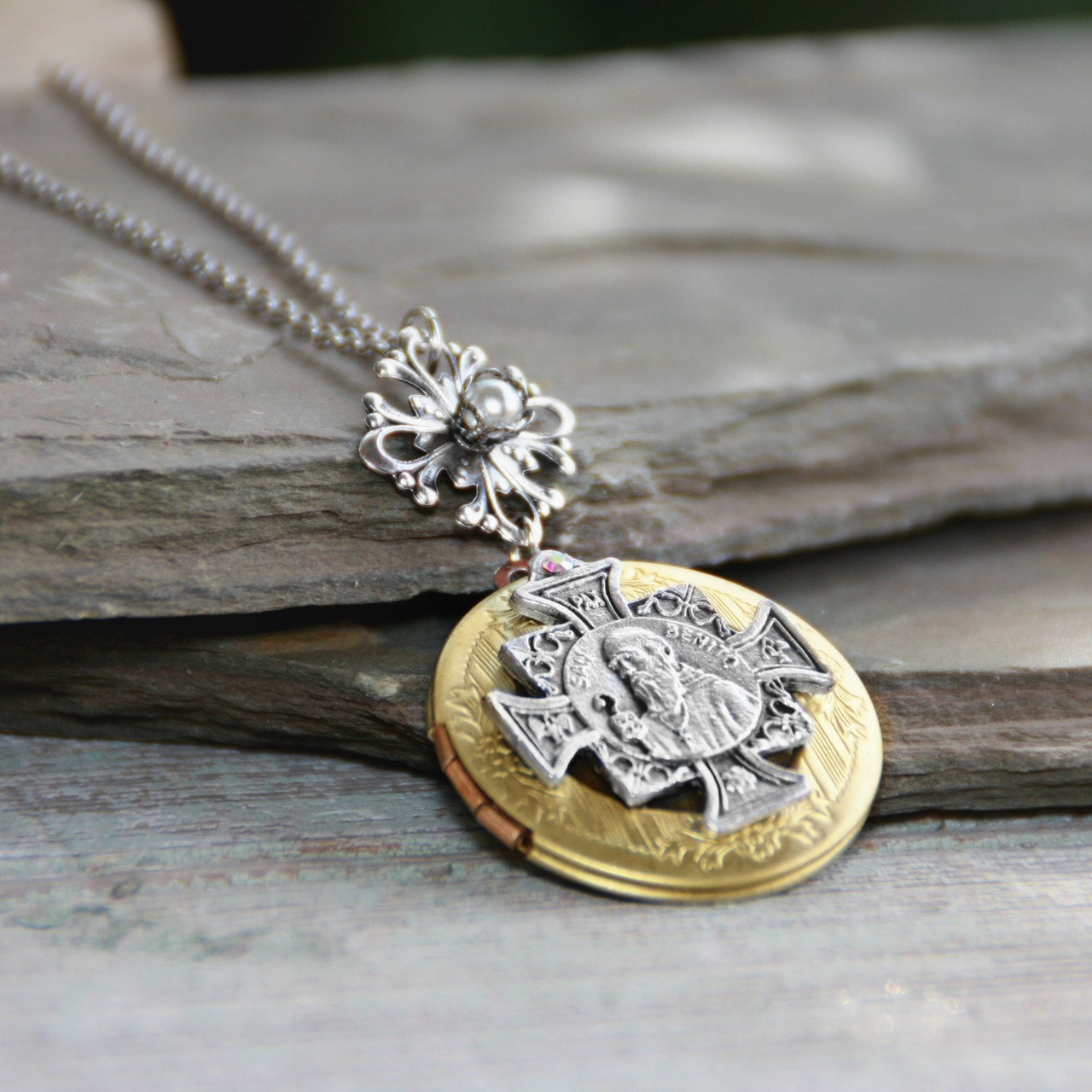 IN-639  Fabulous St. Benedict Locket Necklace