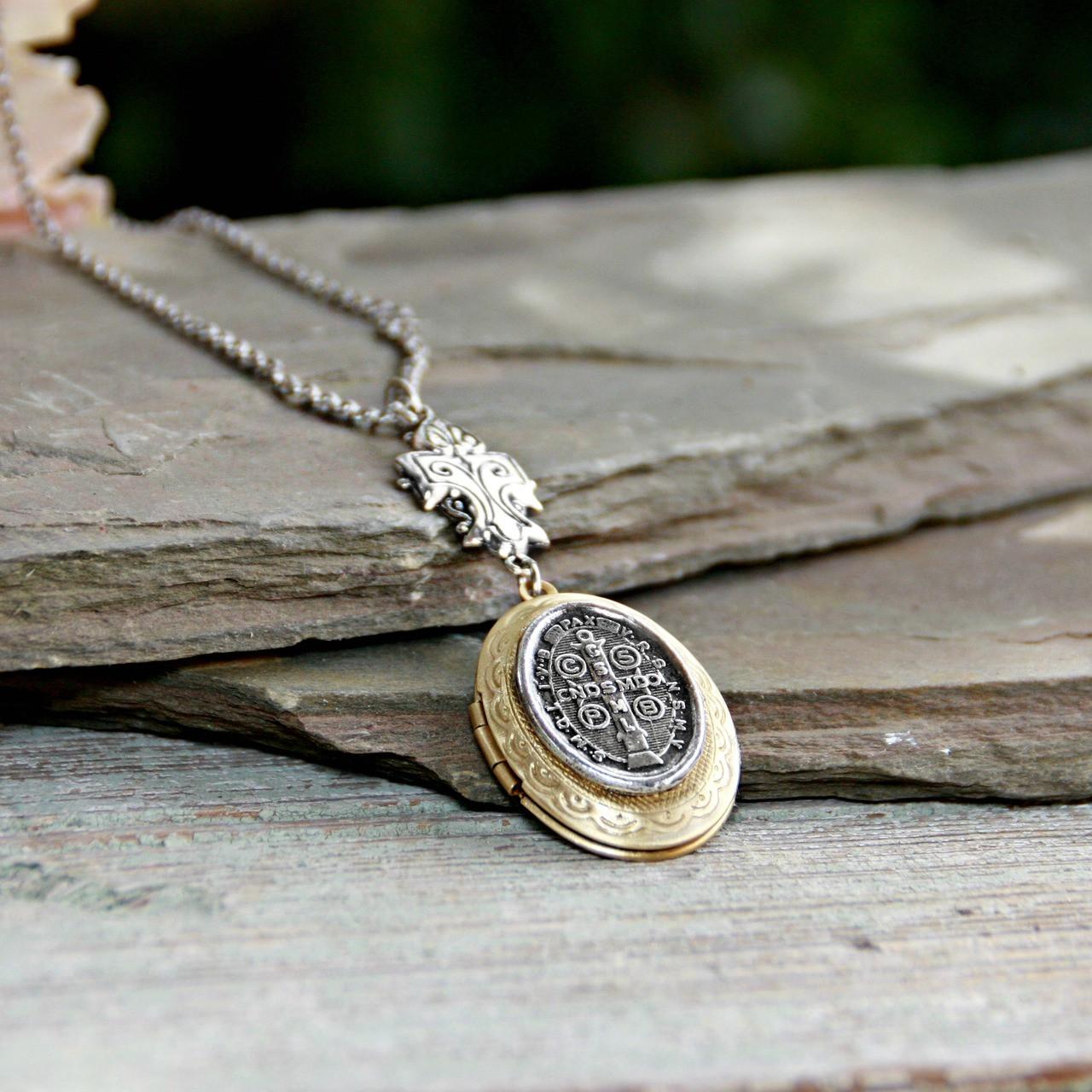 IN-643  St. Benedict Locket Necklace