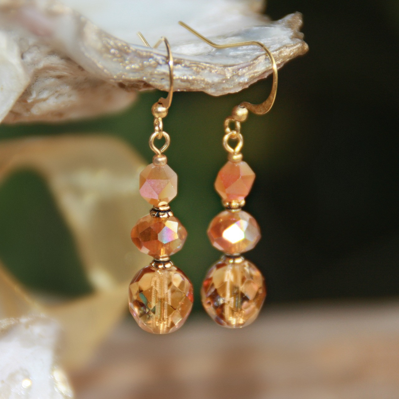 IS-797E  Coral Color Crystal Earrings