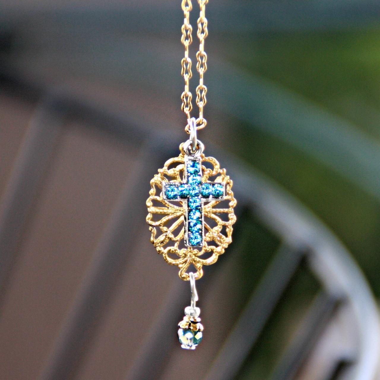 IN-591  Indicolite Swarovski Cross on Filagree Necklace
