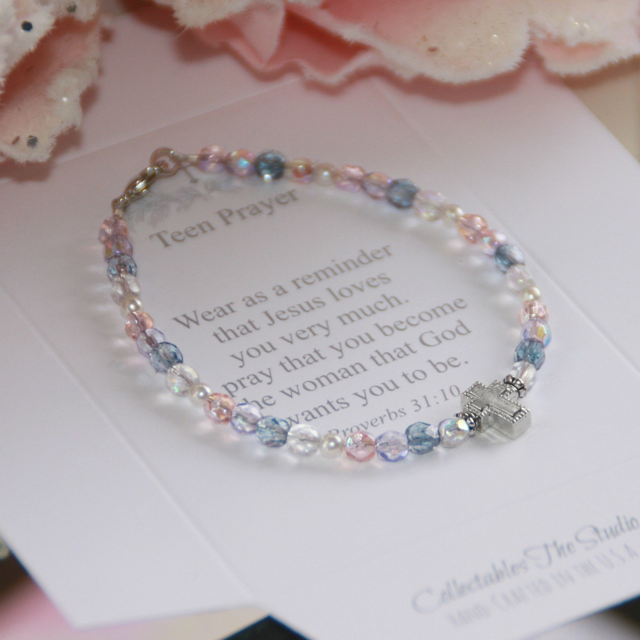 TN-7  Pastel Multi-color Crystals Teen Prayer Bracelet