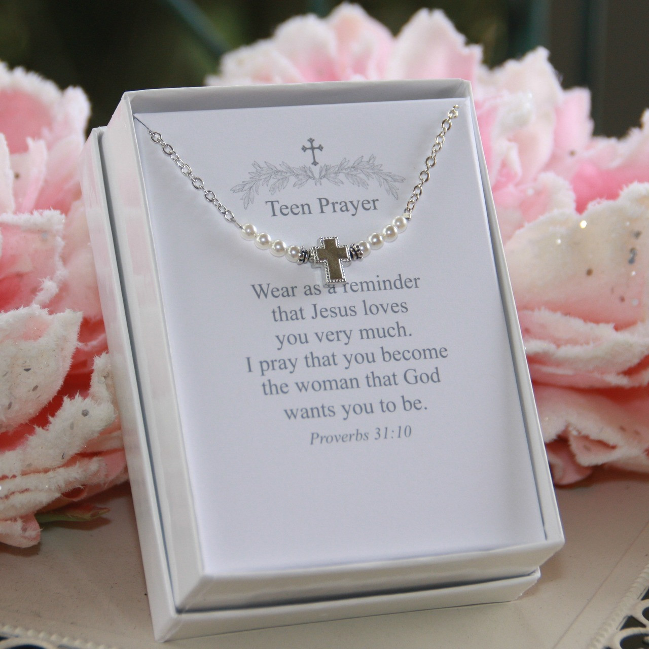 TN-10  Teen Prayer Necklace Classic Pearls