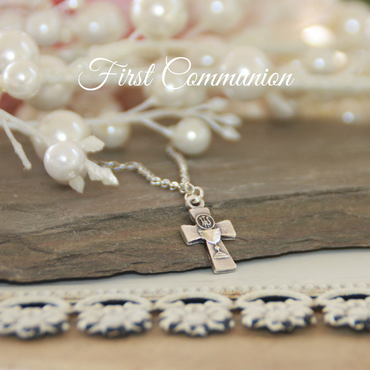 CJ-176  First Communion Medal Necklace