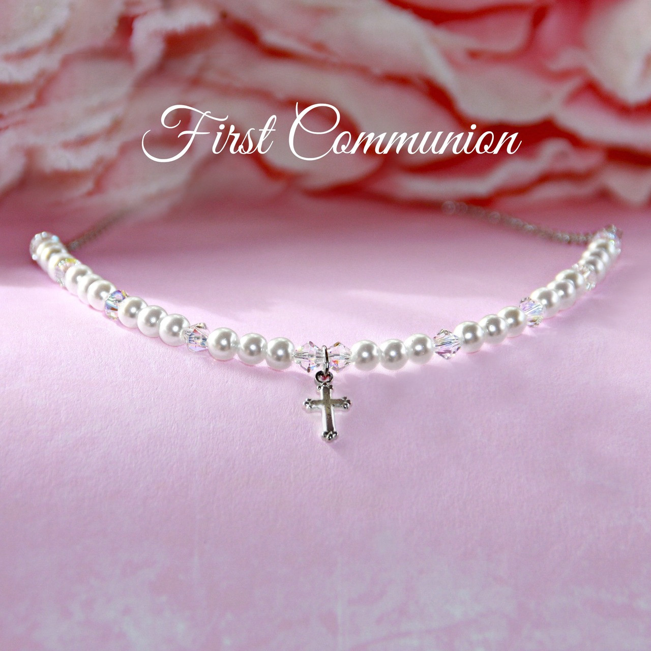 CJ-179  First Communion Gift Boxed Pearl Necklace
