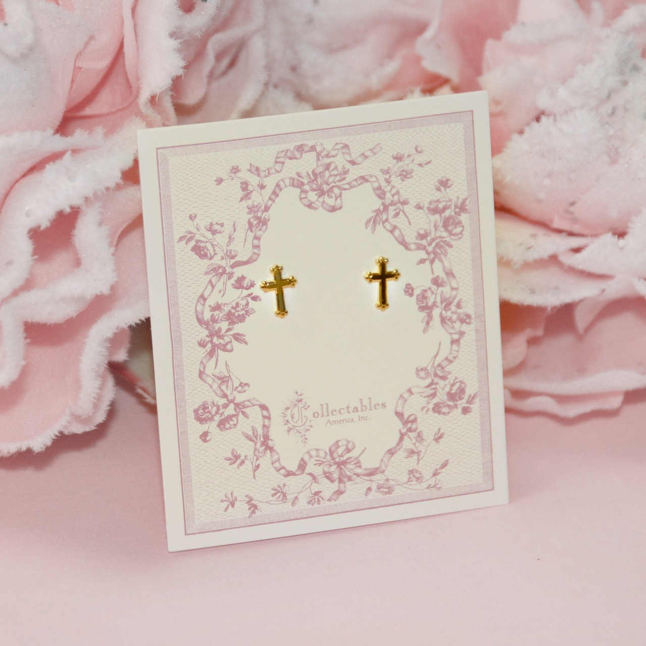 CJ-1  Classic Tiny Post Cross Earrings Gold Finish