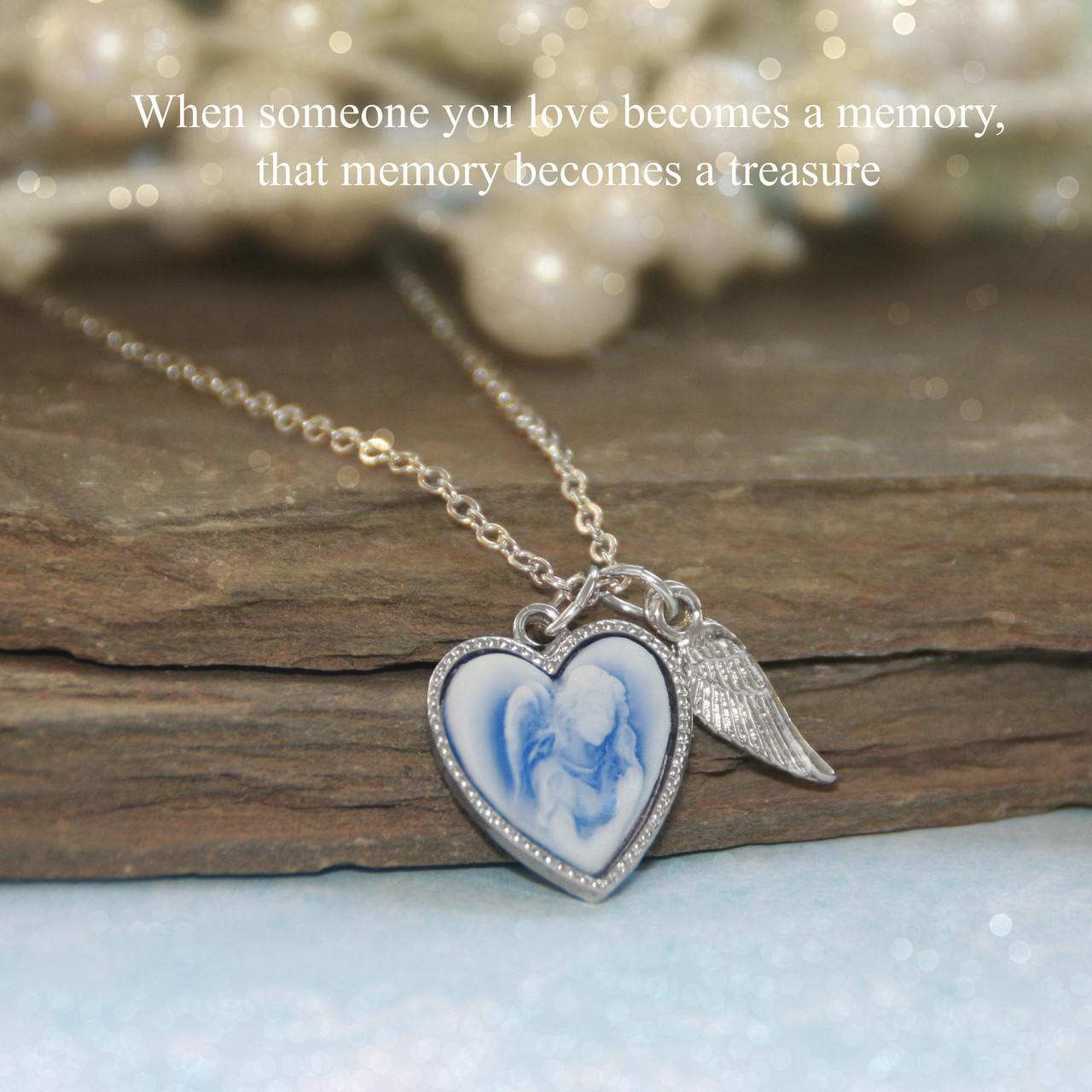 IN-605  Memory Angel Necklace with Wing