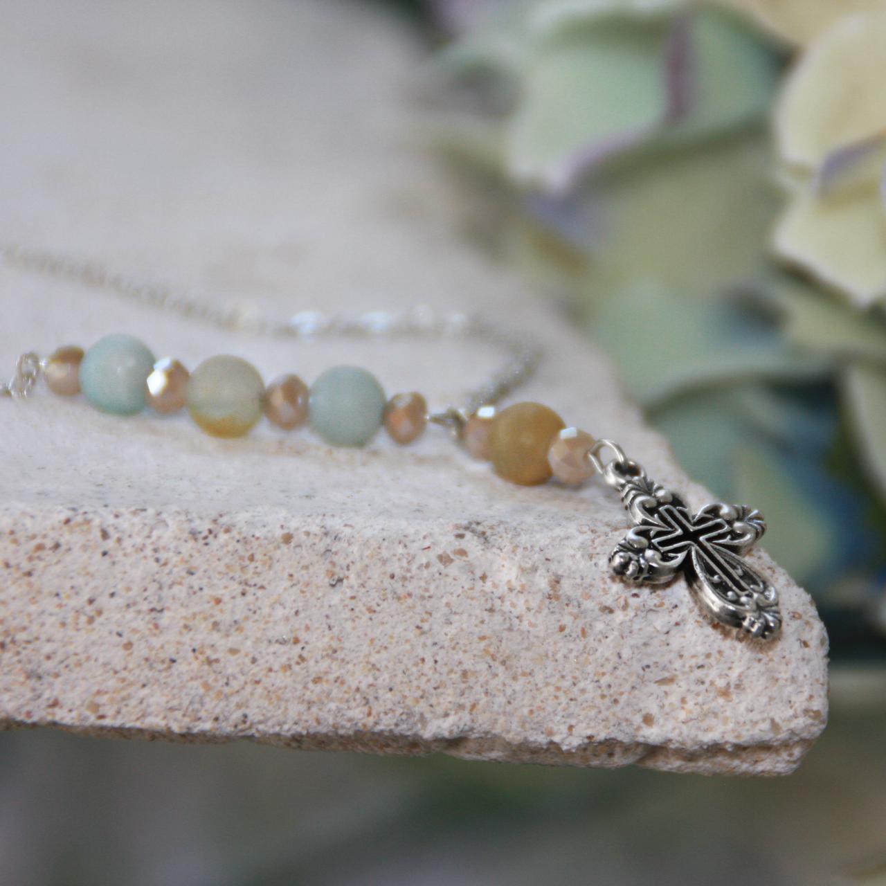 IN-602  Amazonite Cross Drop Necklace