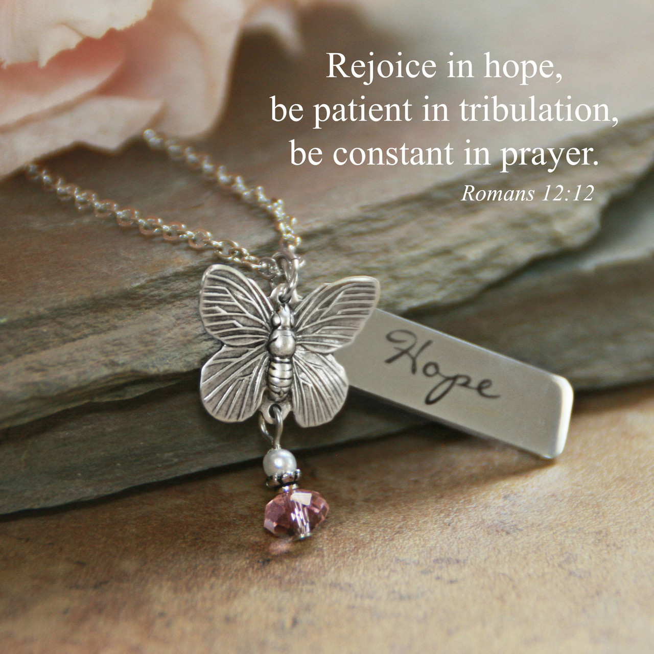 IN-614  Rejoice in Hope Butterfly Necklace Romans 12:12
