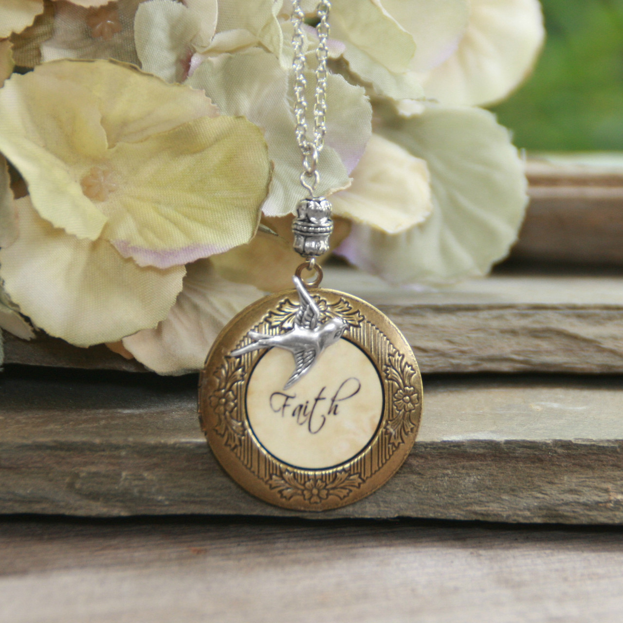 IN-649  Faith Locket with Bird Necklace