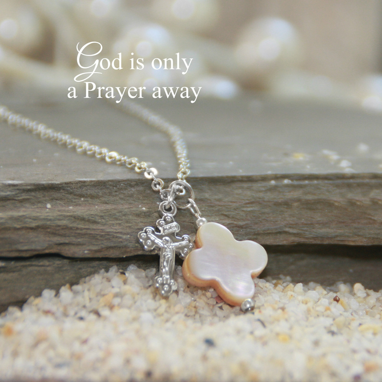 IN-607  Mother of Pearl Cross with Crucifix Necklace