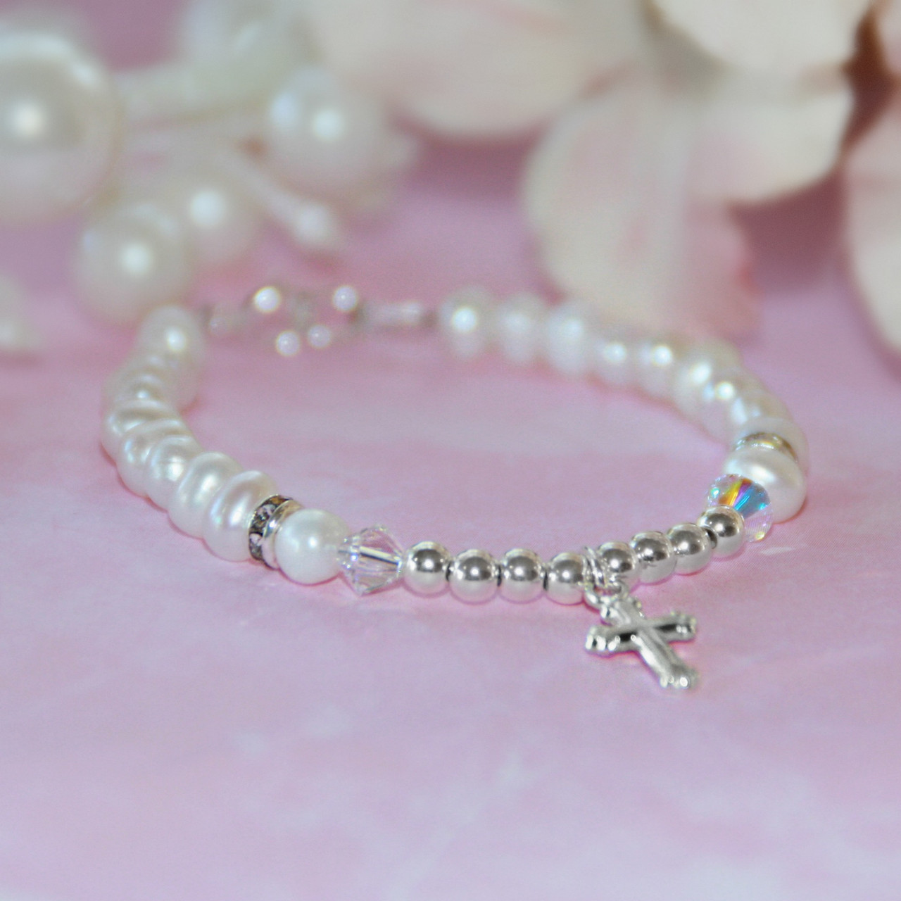 STG-272-4.5  Freshwater Pearls and Sterling Silver Cross Infant Bracelet