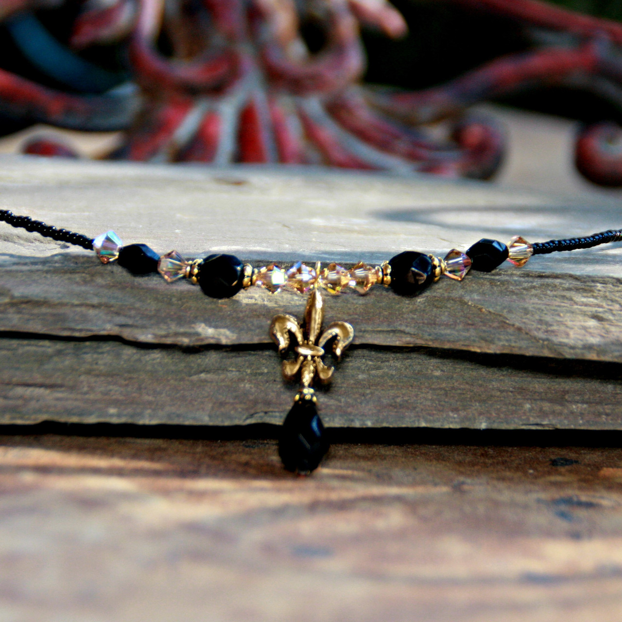 NOST-3  Black and Gold Beaded Necklace