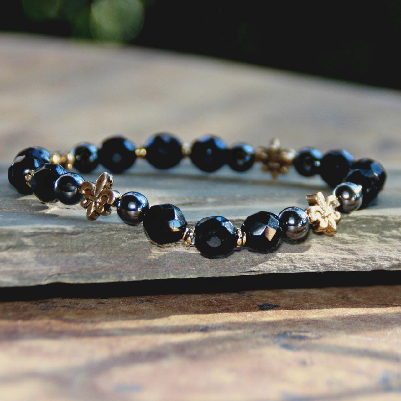 NOST-7  Black and Gold Stretchy Bracelet