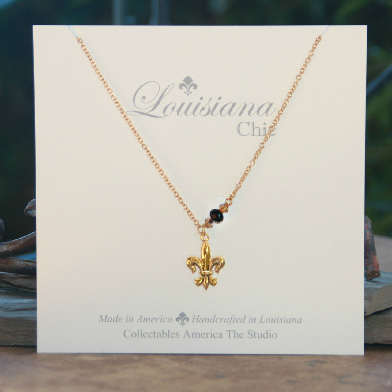 LC-3  Black and Gold Louisiana Chic Necklace
